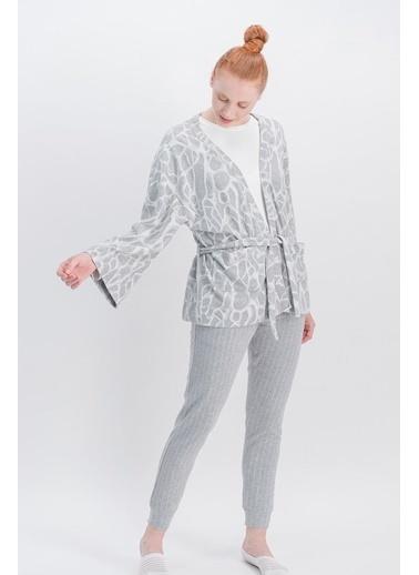 Arnetta Arnetta Basic Animal Krem Kadın Pantolon, Bluz, Hırka 3'Lü Takım Krem